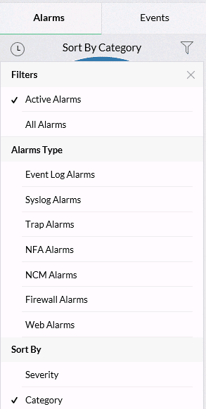 alarm-sorting OpManager v12